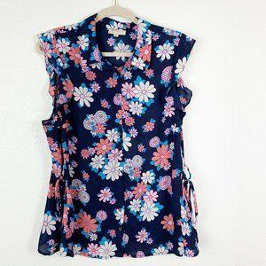 ModCloth Floral Daisy ButtonDown Ruffle Sleeve Top